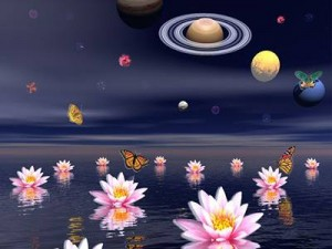 saturn with flowers